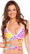 Rainbow Heart Wrap Halter Top