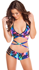 Neon Lightning Wrap Halter Top and Short Set