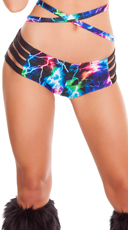 Strappy Neon Lightning Shorts