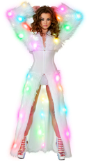 Light-Up White Shag Cincher Coat