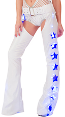 Light-Up White Faux Leather Chaps
