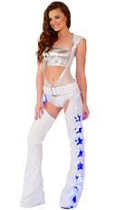 Net Romper and White Light-Up Chaps Set