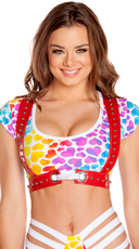 Rainbow Hearts Top and Bottom with Harness Set