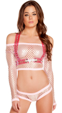 Net Top and Shorts with Harness Set