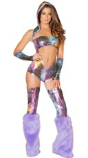 Purple Astronauty Rave Romper Set
