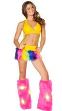 Rainbow Suspender Skirt And Halter Top