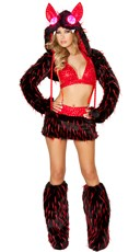 Black and Red Furry Rave Animal Set
