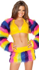 Rainbow Faux Fur Shrug