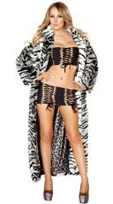 White Tiger Faux Fur Coat
