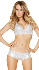 Silver Halter Top And Short Set