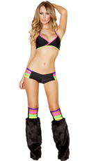 Neon Banded Bra, Short and Legwarmer Set