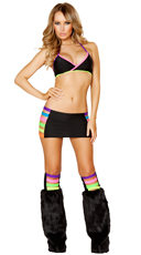 Neon Banded Bra, Skirt and Legwarmers Set