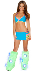 Turquoise Banded Bra, Skirt and Legwarmers Set