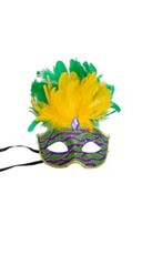 Venetian Animal Print Mask with Short Feathers
