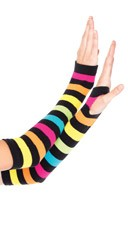 Striped Neon Rainbow Gauntlet Gloves