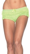Cute Micro-Mesh Lace Ruffle Tanga Shorts