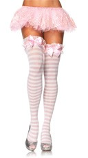 Striped Thigh Highs with Bow