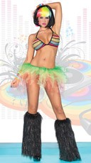 Rainbow Fishnet Raver Girl