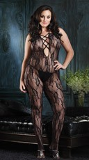 Plus Size Lace Up Front Rose Lace Bodystocking