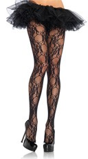Flower Print Lace Pantyhose