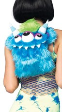 Blue Furry Monster Backpack