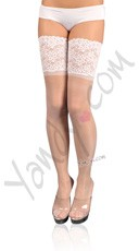 "Plus Size Lycra Sheer Thigh High w/ 6"" Stretch Lace"