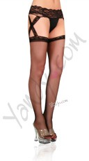 Cris Cross Sheer Garter Belt Stocking