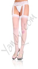 Plus Size Lace Top Sheer Stockings and Garterbelt