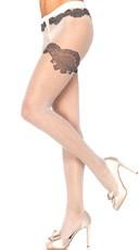 Polka Dot Pantyhose with Lace Print