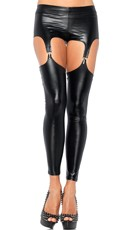 Black Wet Look Garter Leggings