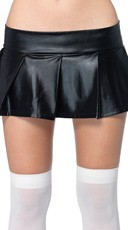Pleated Wet Look Skirt