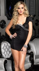 Faux Rhinestone Trim Mini Dress