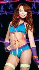 Wrap Halter Set with Rainbow Print