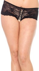 Plus Size Lace Crotchless Tanga Thong