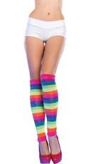 Ultra Neon Rainbow Striped Leg Warmers