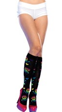 Rainbow Skull and Crossbones Knee Highs