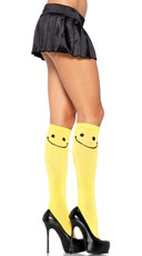 Yellow Happy Face Knee High Stockings