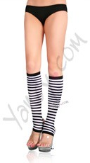 Nylon Striped Stirrup Knee Highs