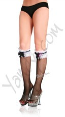 Fishnet Knee Highs with Lace Ruffle and Satin Bow