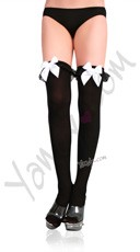 Opaque Thigh Highs With Chiffon Ruffle And Satin Bow