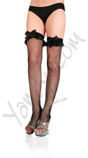 Fishnet Thigh Highs with Satin Ruffle and Bow