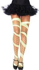 Diamond Net Swirl Thigh Highs