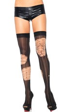 Distressed Pinstripe Thigh Highs