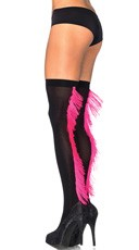 Fringed Backseam Thigh Highs