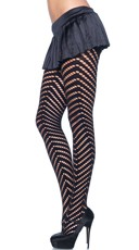 Cut-Out Circular Stripes and Opaque Pantyhose