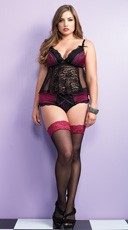 Plus Size Black Lace and Burgundy Cami Set