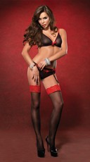 Sheer Bra, Woven Garterbelt and Heart Back Panty