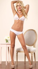 White Mesh Bra and Brazilian Ruffle Panty