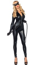 Wet Look Kitty Catsuit Costume Kit