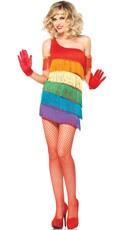 Sexy Rainbow Fringe Flapper Costume